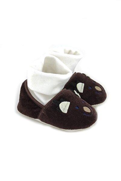 Funny Çoraplı Gülen Yüz Bebek Patiği-kahverengi