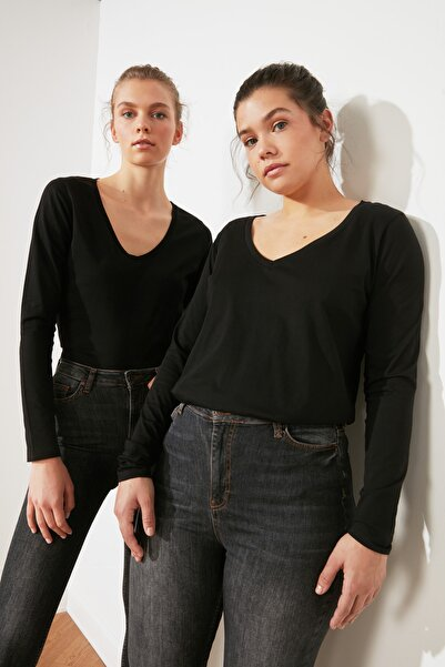 TRENDYOLMİLLA Siyah Uzun Kollu V Yaka Basic Örme T-Shirt TWOAW21TS0099