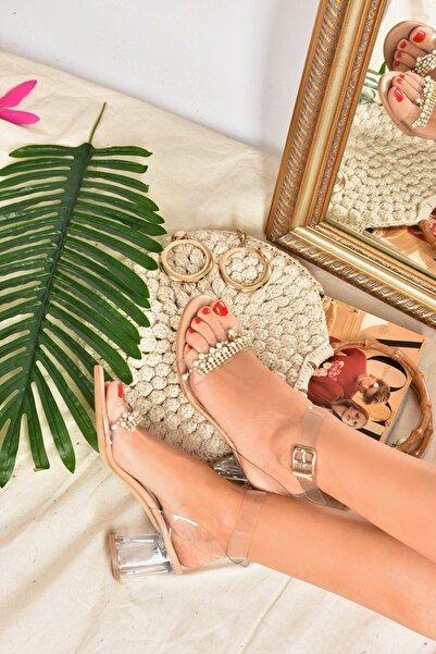 Fox Shoes Kadın Ten Boncuklu Şeffaf Cam Topuklu Ayakkabı K510953823