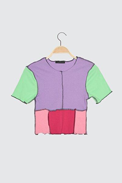 TRENDYOLMİLLA Lila Renk Bloklu Fitilli Crop Örme Bluz TWOSS21BZ1189
