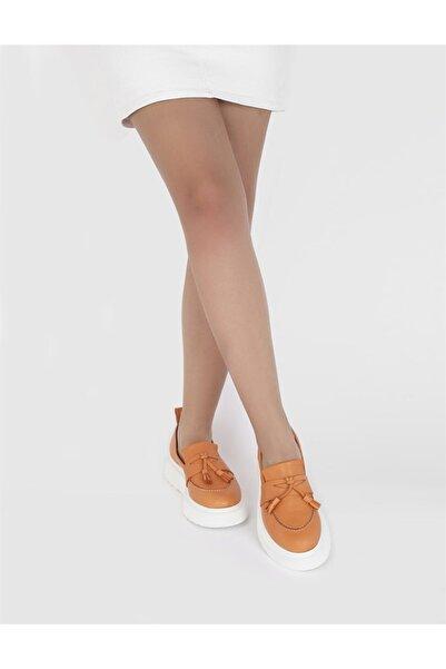 İLVİ Kadın Turuncu Hakiki Deri Loafer Ayakkabı