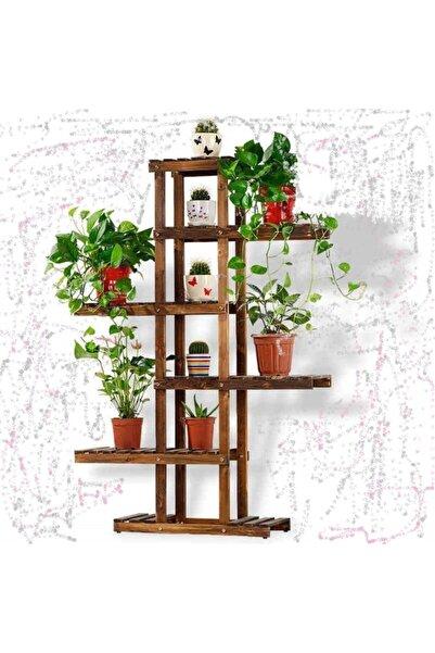 İnce Çizgi Store Çok Amaçlı Dekoratif Ahşap Raflı Çiçek Saksı Rafı Standı Inc0127 Model9
