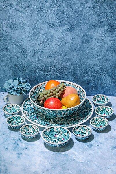 Seramik Home El Yapımı Seramik Çini Çerez Seti Ve 25 Cm Kase Meyve Salata Sunum
