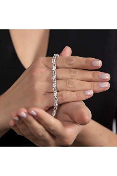 Tesbihane Starlight Diamond Pırlanta Montür Zirkon Taşlı Orta Boy 925 Ayar Gümüş Su Yolu Bileklik