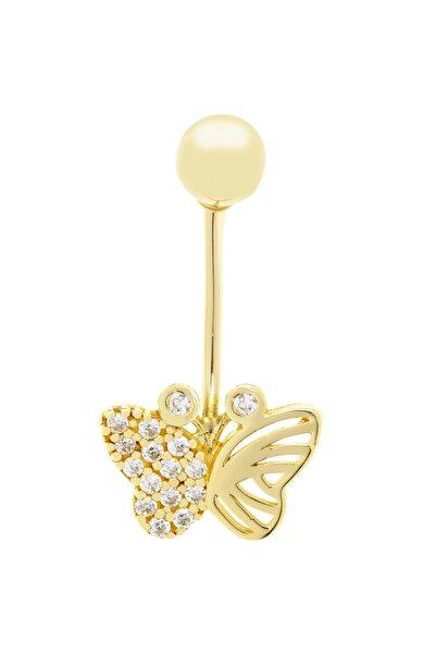 Myra Gold Kelebek Taşlı Altın Piercing