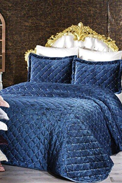 Çeyiz Diyarı Serenity Kadife Yatak Örtüsü - Lacivert