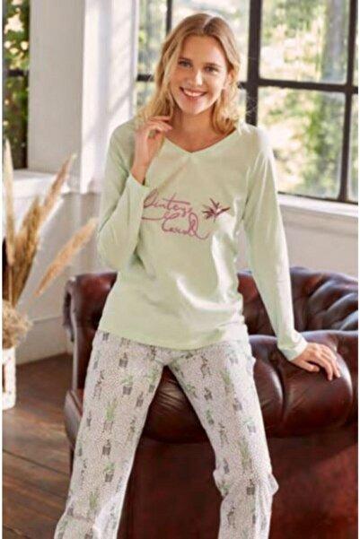 Eros Pijama Kadın Kaktüs Cicek V Yaka Pijama Takımı Esk27530