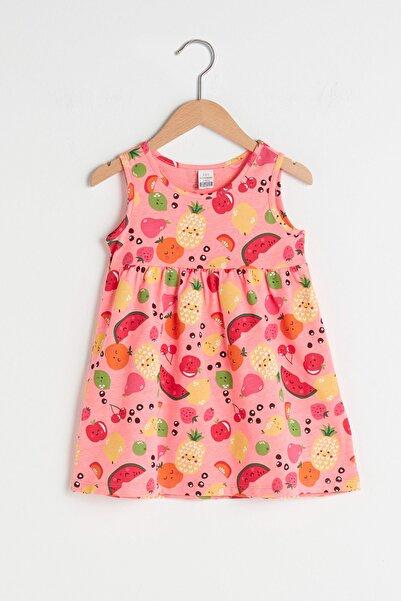 LC Waikiki Kız Bebek Neon Pembe Baskı M8M Elbise