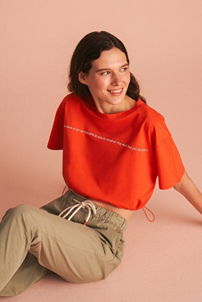 Nocturne Yuvarlak Yaka Crop Tişört