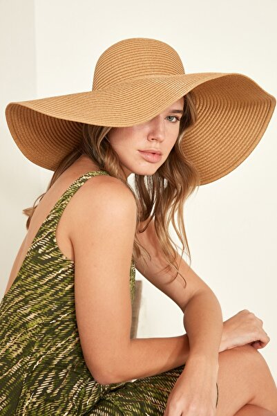 C&City Kadın Hasır Plaj Şapkası Y1730-23 Vizon