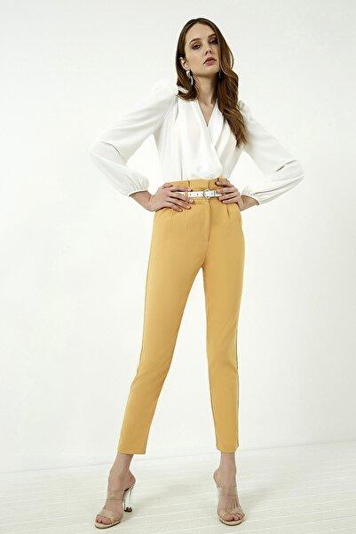 Vis a Vis Kadın Hardal Yüksek Bel Pileli Kemerli Pantolon