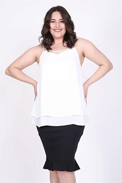 MYLİNE Kadın Beyaz İp Askılı Önü Çaprazlı Bluz