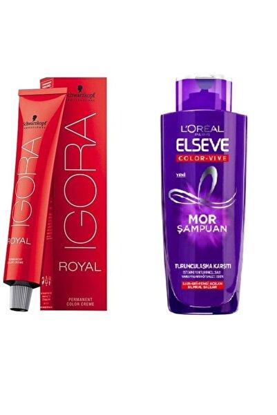 SCHWARZKOPF HAIR MASCARA Saç Boyası Royal 0-22 + Turunculaşma Karşıtı Mor Şampuan 200 ml ceylinkzmtk105