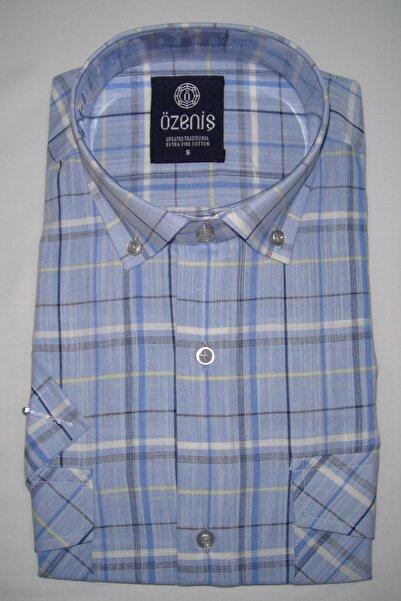 Erkek Mavi Çift Cepli Düğmeli Kısa Kol Gömlek