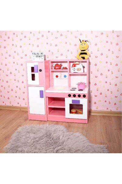 Oyuncak Odası Montessori Ahşap Pembe Çocuk Oyun Mutfağı 75x75x30 Cm