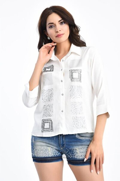 Modkofoni Kadın Beyaz Kare Taş Dizinli Kısa Kollu Gömlek