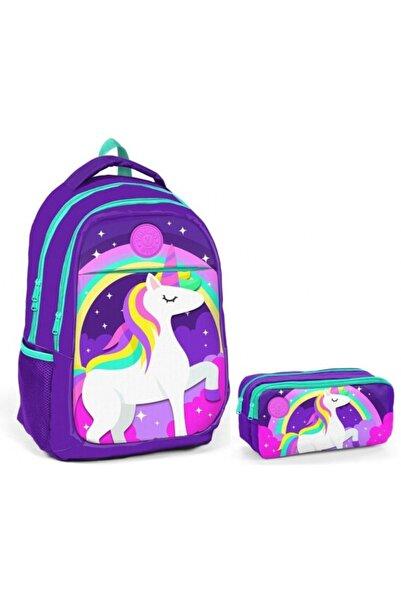 Yaygan Çanta Unicorn Baskılı Kız Çocuk Ilkokul Ve Ortaokul Çanta Seti - Mor