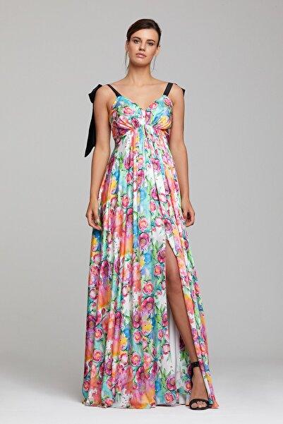RENGIN Göğsü Büzgülü Çiçek Desenli Elbise