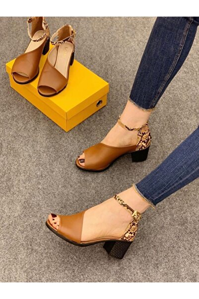 Elexus Kadın Taba Madrid Topuklu Sandal