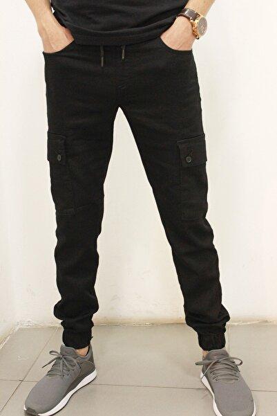 Twister Jeans Erkek Siyah Gabardin Beli ve Paçası Lastikli Kargo Pantolon