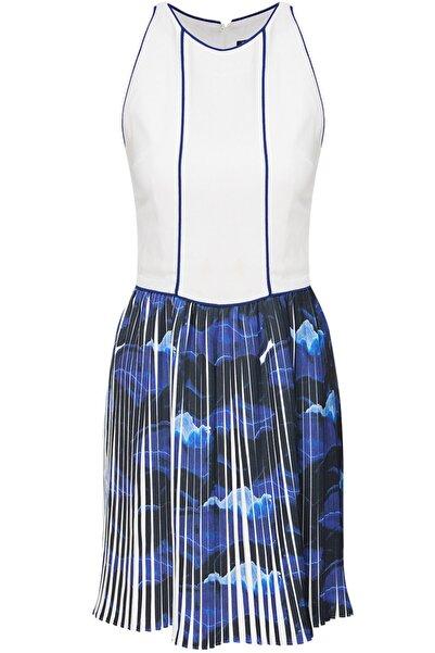 Selma Çilek Kadın Beyaz Mavi Pileli Biye Detaylı Krep Elbise
