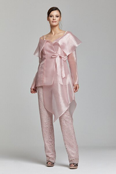 RENGIN Organze Ceketli Ince Askılı Bluzlu Brode Pantolonlu Takım