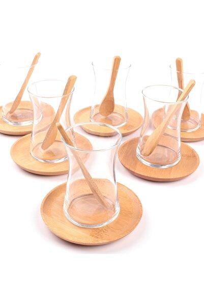 Grandgift 6 Kişilik Bambu Tabak Ve Kaşıklı Ince Belli Çay Bardağı Seti