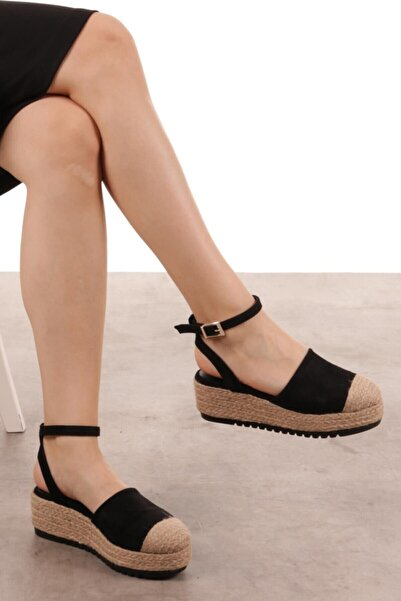 Mio Gusto Janet Siyah Dolgu Tabanlı Sandalet