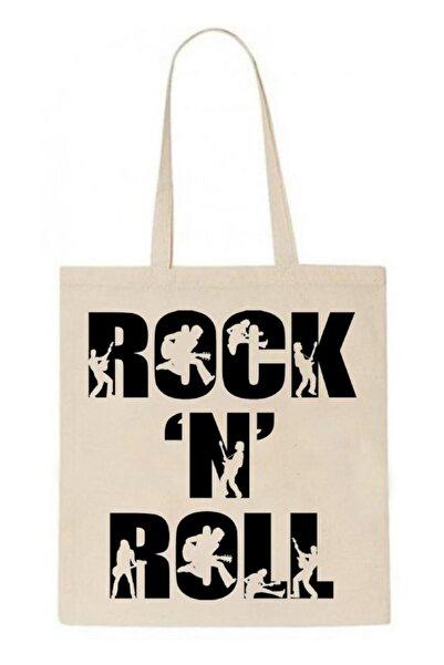 ABC Kadın Bej Rock'n Roll Baskılı Omuz Çantası