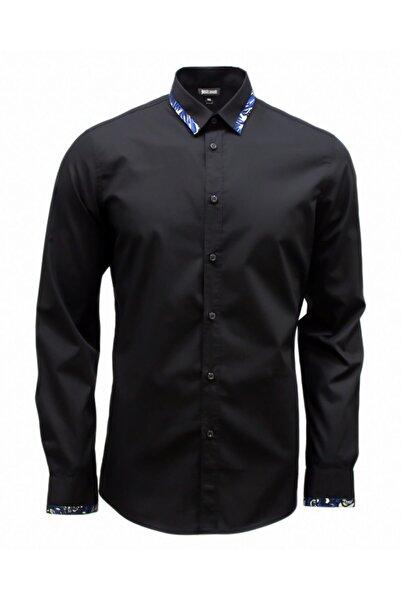 Just Cavalli Erkek Siyah  Cavallı  Desenli Gömlek