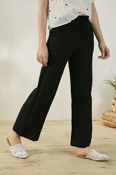 Kadın Siyah Beli Lastikli Bol Paça Keten Pantolon Stn161Kpa112