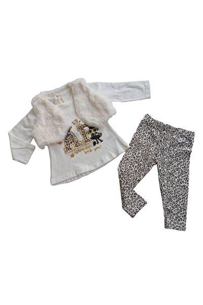 My Bella Peluş Yelekli Kürk Model Leopar Desen Taytlı Kız Bebek Takım