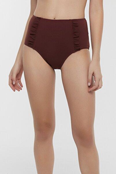 Penti Kadın Kahverengi Basic Yüksek Bel Ruffle Bikini Altı