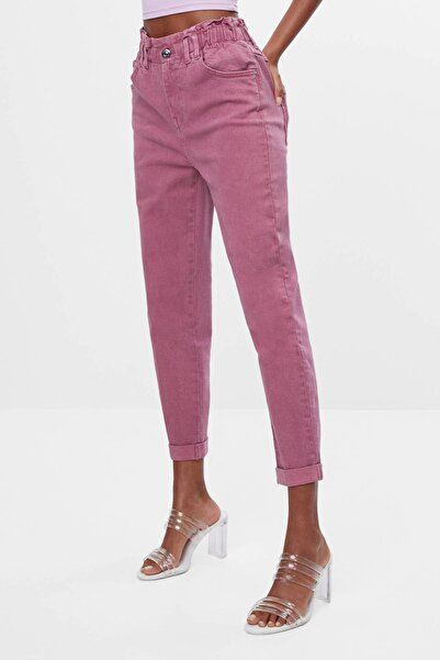 Bershka Kadın Pembe Elastik Belli Pantolon 05215388
