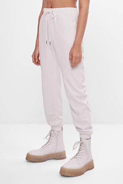 Bershka Kadın Beyaz Koton Jogger Pantolon 05225478