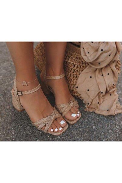 LORİA Naturel Jüt Kumaş Keten Çuval Hasır Kadın Sandalet