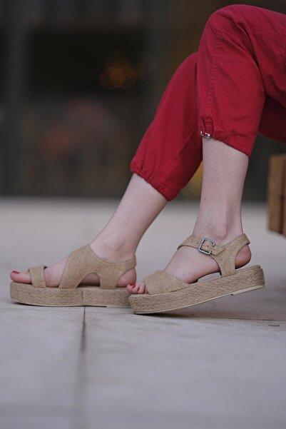 Oksit Florin 567 Hasır Kalın Taban Kadın Sandalet