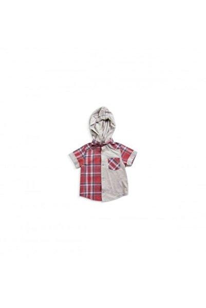 andywawa Erkek Bebek Kırmızı Kapşonlu Kareli Gömlek