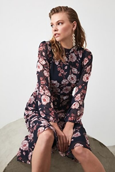 Lacivert Çiçek Desenli Elbise TWOAW20EL1313