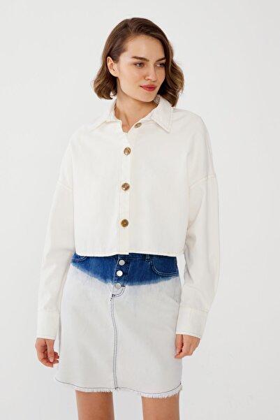 Love My Body Kadın Kemik Crop Gömlek 56366 / Moda Tutkusu