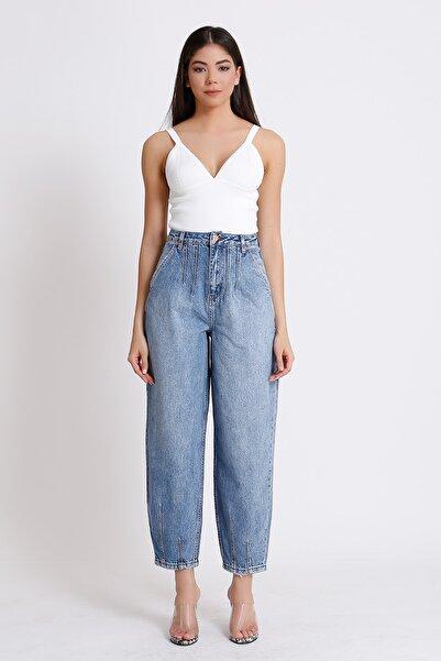Kadın Mavi Yüksek Bel Denim Kot Balon Mom Jeans 2090