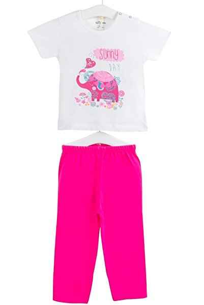 Aziz Bebe Kız Bebek Baskılı Kısa Kollu Pijama Takımı AZZ009419