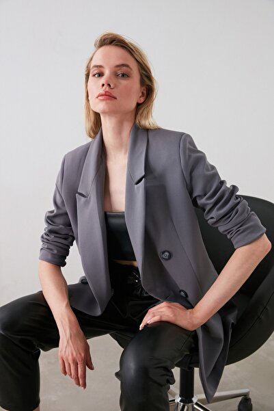 TRENDYOLMİLLA Gri Düğmeli Oversize Blazer Ceket TWOAW20CE0130
