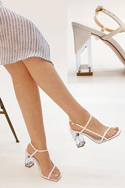 Marjin Beyaz Kadın Runsa Bilekten Bantlı Topuklu Ayakkabı 20Y0016AD816
