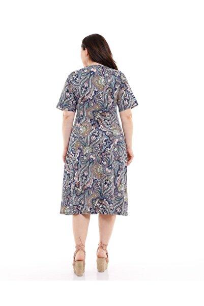 Kadın Mavi V Yaka Yarım Kol Şal Desenli Penye Elbise