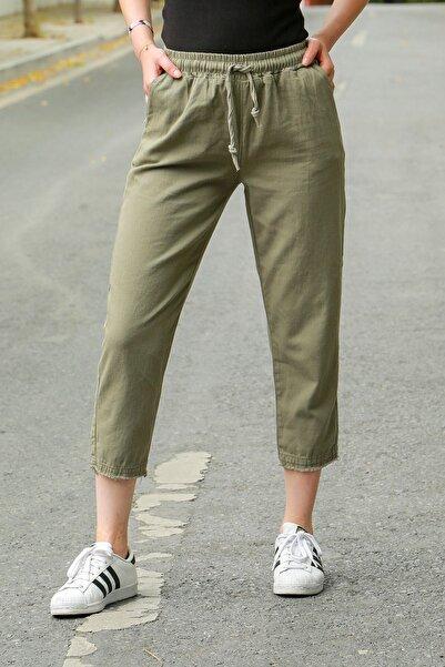 Madmext Mad Girls Haki Beli Lastikli Paça Detaylı Pantolon MG573