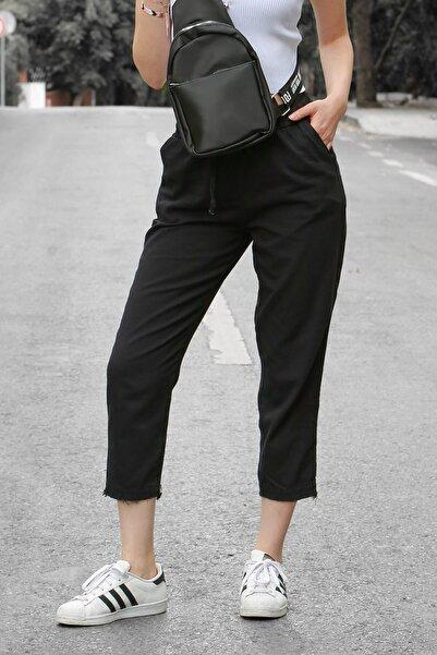 Madmext Mad Girls Siyah Beli Lastikli Paça Detaylı Pantolon MG573