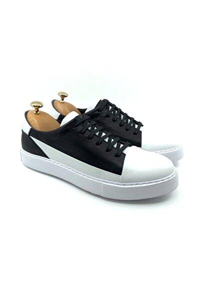 TETRİ Erkek Beyaz Siyah Hakiki Deri Ayakkabı