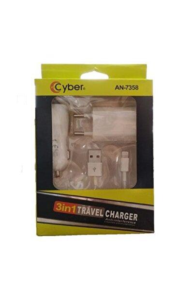 Cyber An-7358 3in1 Travel Lightning Şarj Aleti
