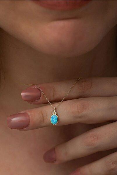 Papatya Silver 925 Ayar Oval Opal Taşlı Gümüş Kolye Rose Altın Kaplama